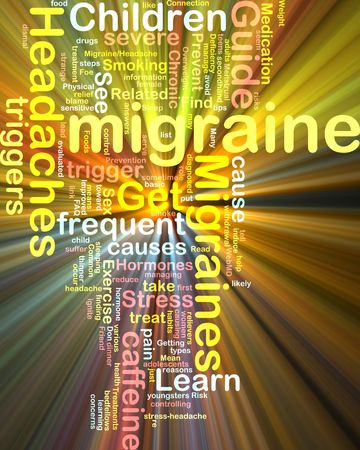 frequent: Word cloud concept illustration of  migraine headache glowing light effect