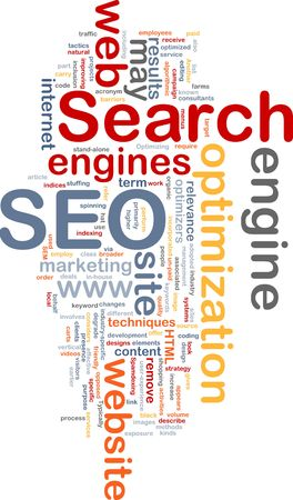 Word cloud concept illustration of SEO Search Engine Optimization Stock Illustration - 6165276