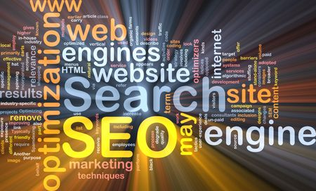 Software package box Word cloud concept illustration of SEO Search Engine Optimization illustration