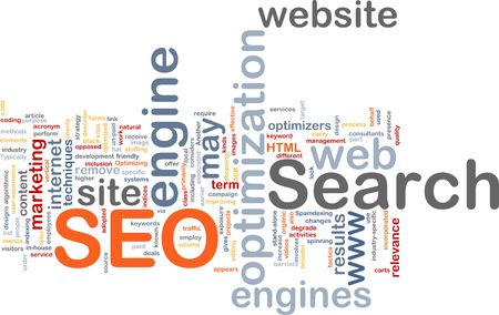 search results: Word cloud concept illustration of SEO Search Engine Optimization