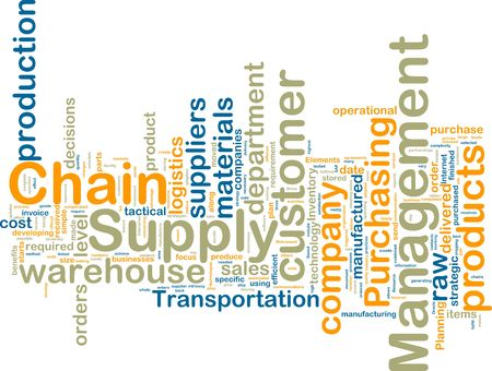 inventories: Word cloud tags concept illustration of supply chain management Stock Photo