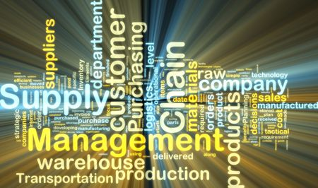 Word cloud tags concept illustration of supply chain management glowing light effect  illustration