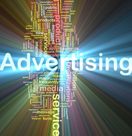 media advertising: Word cloud concept illustration of media advertising glowing light effect  Stock Photo