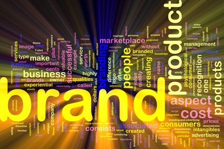 branded product: Background concept illustration of brand product marketing glowing light effect  Stock Photo