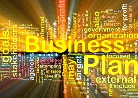 Word cloud concept illustration of business plan glowing light effect Stock Illustration - 6165493