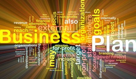 Word cloud concept illustration of business plan glowing light effect Stock Illustration - 6165774
