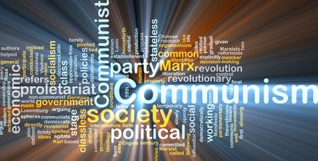 exploited: Word cloud concept illustration of comunism economy glowing light effect  Stock Photo