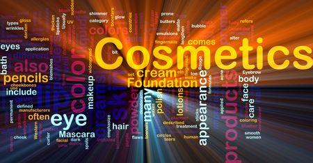 produits de beaut�: Illustration de concept de fond de produits de beaut� de cosm�tiques incandescent effet de lumi�re