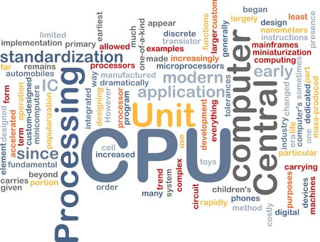 Word cloud concept illustration of computer CPU illustration