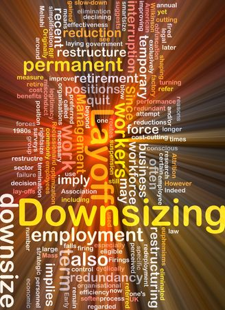 downsize: Software package box Word cloud concept illustration of downsizing restructuring