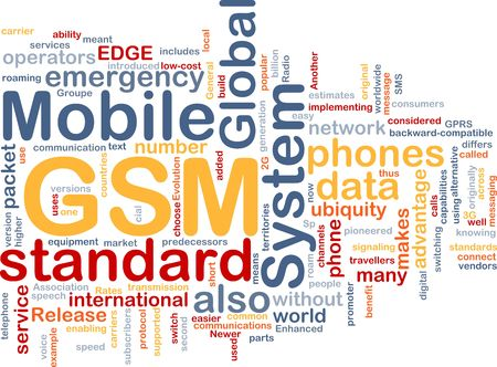 roaming: Word cloud concept illustration of phone GSM Stock Photo