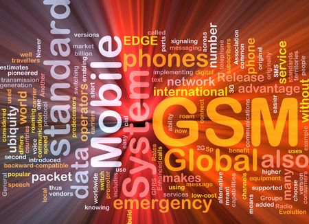gsm phone: Word cloud concept illustration of phone GSM glowing light effect  Stock Photo