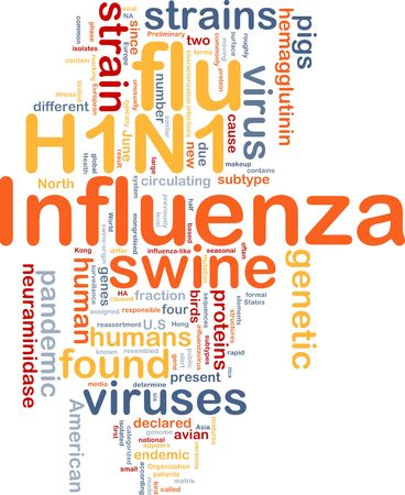 avian flu: Background concept illustration of H1N1 Influenza swine flu