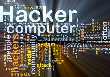 vulnerability: Background concept illustration of computer hacker attack glowing light effect  Stock Photo