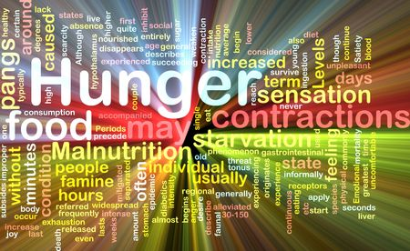 contractions: Background concept illustration of hunger malnutrition starvation glowing light effect