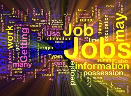 pursue: Background concept illustration of jobs work employment glowing light effect