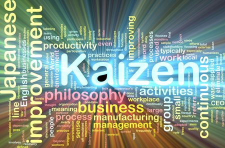 Word cloud concept illustration of kaizen improvement glowing light effect Stock Illustration - 6165775