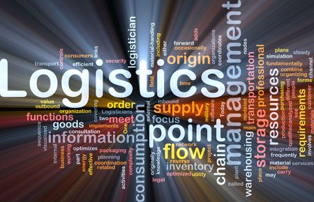 warehousing: Word cloud concept illustration of logistics management glowing light effect