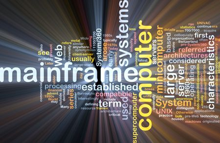 minicomputer: Software package box Word cloud concept illustration of mainframe computer
