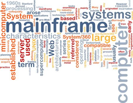 Word cloud concept illustration of mainframe computer illustration