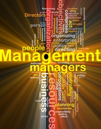 Word cloud concept illustration of business management glowing light effect Stock Illustration - 6165451