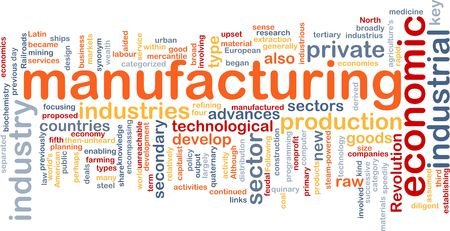 Word cloud concept illustration of manufacturing industry illustration