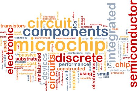 miniaturization: Word cloud concept illustration of computer microchip