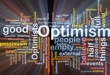 favourable: Word cloud concept illustration of optimism optimist glowing light effect  Stock Photo