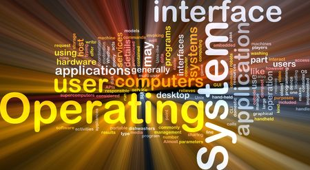 operation: Word cloud concept illustration of operating system glowing light effect