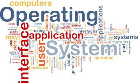systems operations: Word cloud concept illustration of operating system