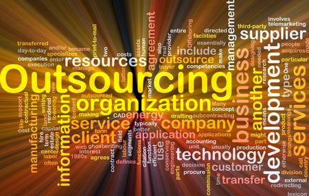 procure: Software package box Word cloud concept illustration of business outsourcing