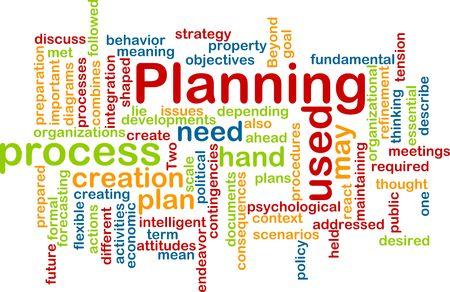 objetivo: Ilustración de concepto de nube de Word del proceso de planificación Foto de archivo