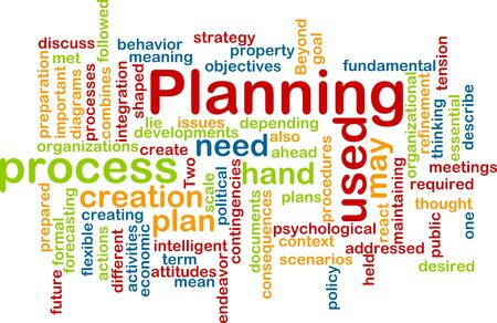 Word cloud concept illustration of planning process illustration
