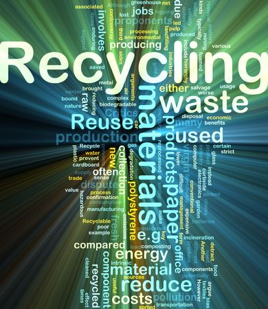waste recycling: Background concept illustration of recycling waste materials glowing light effect