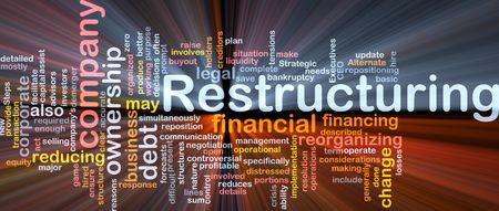 facilitate: Software package box Word cloud concept illustration of company restructuring Stock Photo