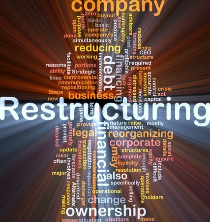 Software package box Word cloud concept illustration of company restructuring Stock Photo