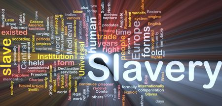 captives: Software package box Word cloud concept illustration of human slavery Stock Photo