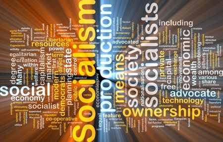 libertarian: Word cloud concept illustration of socialism economy glowing light effect