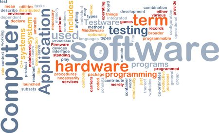 Word cloud concept illustration of computer software illustration