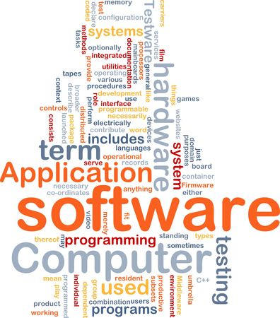 Word cloud concept illustration of computer software Stock Illustration - 6165301
