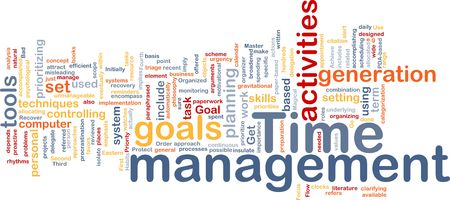prioritizing: Word cloud concept illustration of time management Stock Photo