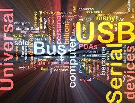 commonplace: Word cloud concetto illustrazione del computer USB effetto luce incandescente
