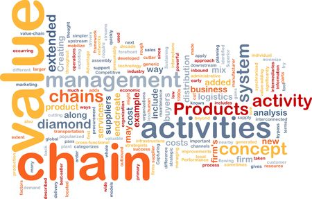 downstream: Word cloud concept illustration of value chain Stock Photo