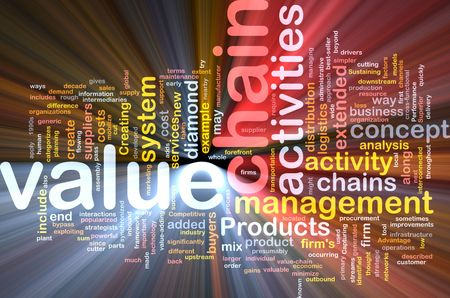 suppliers: Word cloud concept illustration of value chain glowing light effect