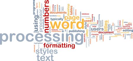 word processor: Word cloud concept illustration of word processing