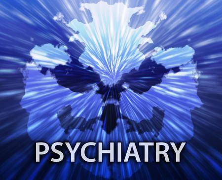 n�vrose: Un traitement psychiatrique psyrchiatry rorschach inkblot concept backgroun.