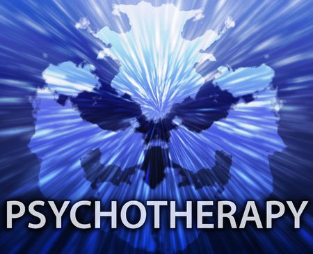 medical evaluation: Psychiatric treatment psychotherapy rorschach inkblot concept background