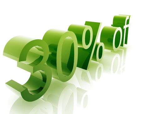 retailing: Thirty Percent discount, retail sales promotion announcement illustration Stock Photo