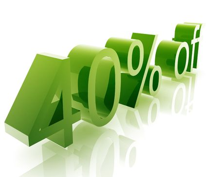 forty: Forty Percent discount, retail sales promotion announcement illustration