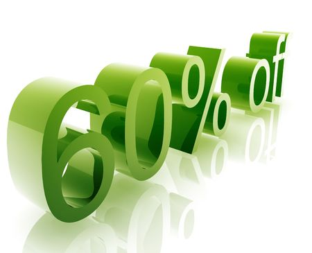 sixty: Sixty Percent discount, retail sales promotion announcement illustration Stock Photo